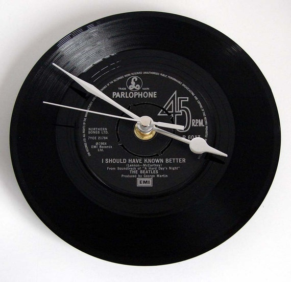"The BEATLES Vinyl Record CLOCK from original recycled 7"" record. Choose your own favourite Beatles song Fun retro gift for dad mum boyfriend"