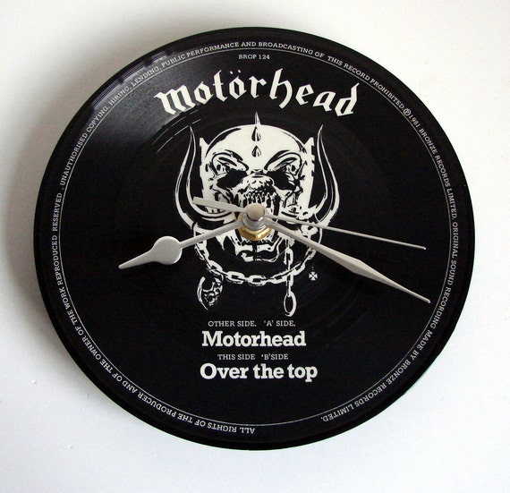 "MOTORHEAD Vinyl Record Wall Clock. A recycled 7"" picture disc. Great gift for dad brother boyfriend heavy metal fan rocker men guys skull"