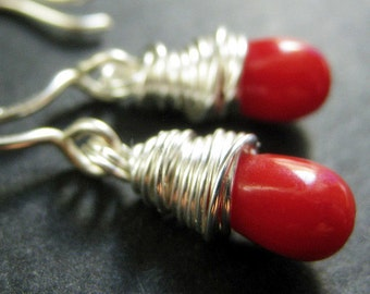 Red Coral Earrings. Teardrop Earrings Wire Wrapped in Silver. Handmade Jewelry.