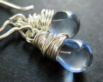Wire Wrapped Pale Blue Clear Teardrop Earrings in Silver. Handmade Jewelry.