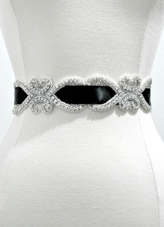 Ready To Ship - Bridal crystal belt , rhinestone sash, bridal sash, bridal belt, Ready To Ship