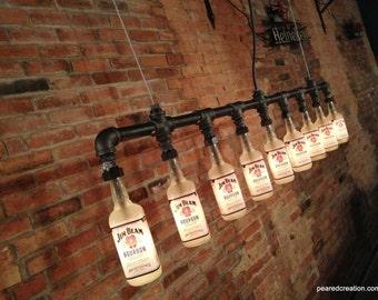 Industrial Style Bottle Lamp - Jim Beam Chandelier - Steampunk Fixture - Bar Decor