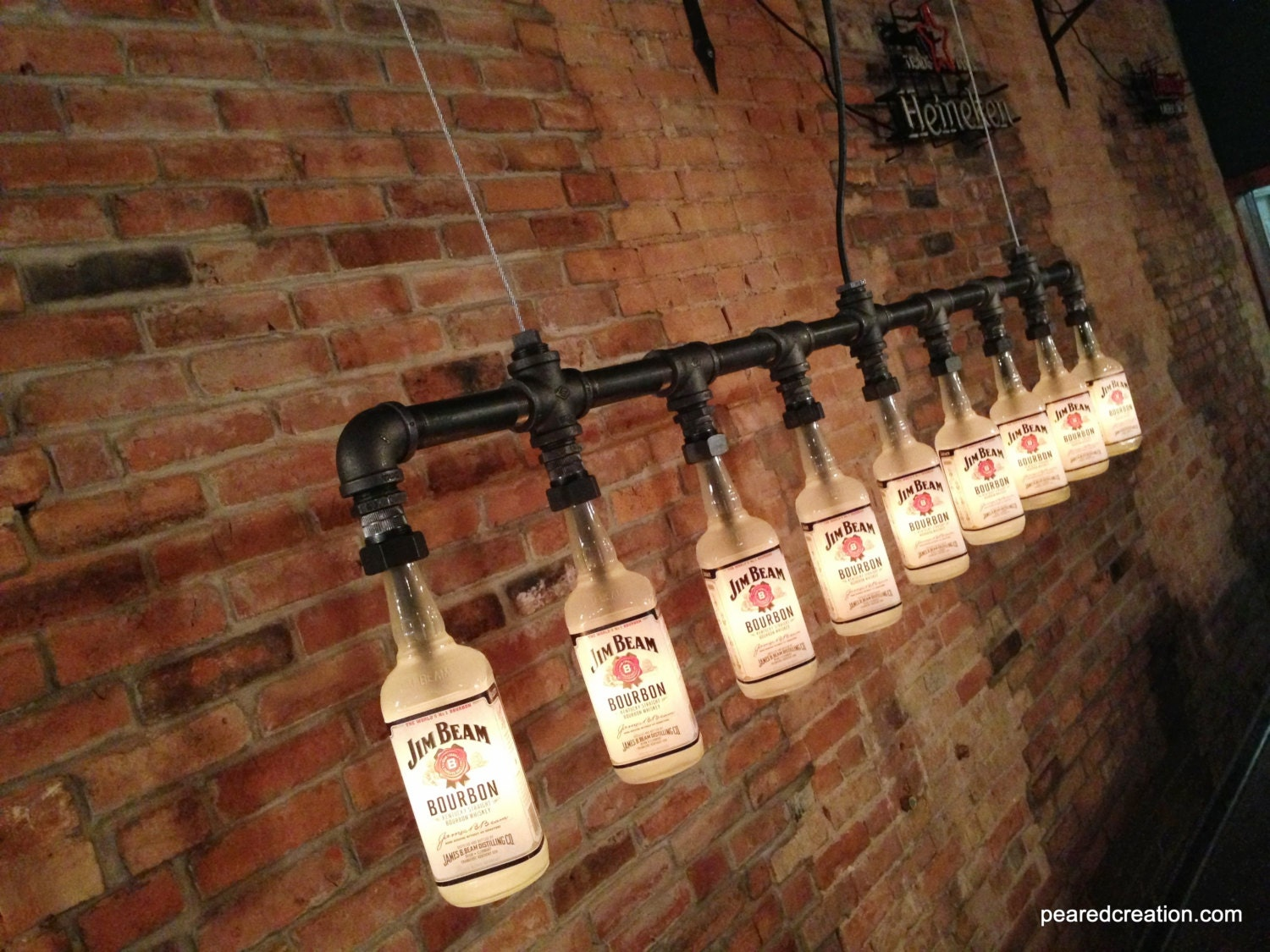 Man Cave Vintage Decor : Industrial style bottle lamp jim beam chandelier steampunk
