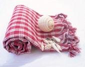 Turkish Bath Towel,Peshtemal, beach towel, hammam towel, Spa Towel,Travel Towel-Natural Plaid design-claret red