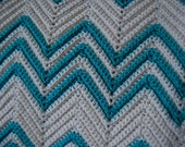 TURQUOISE and OFF WHITE vintage afghan blanket handmade