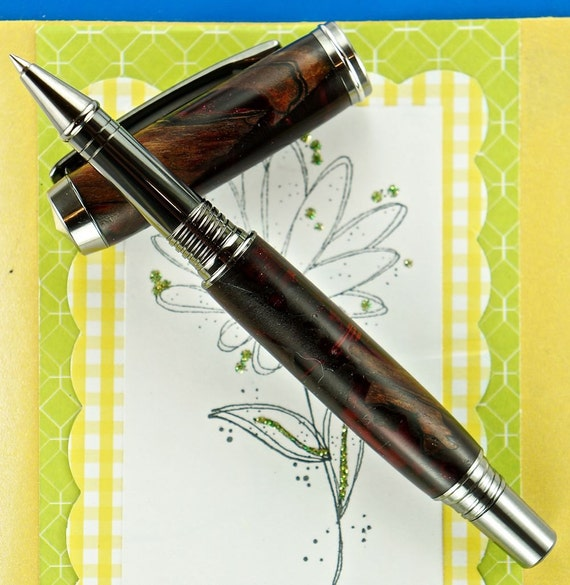 Hand Turned Acrylic and Wood Pen Rollerball Handcrafted using Black Titanium Hardware 319U