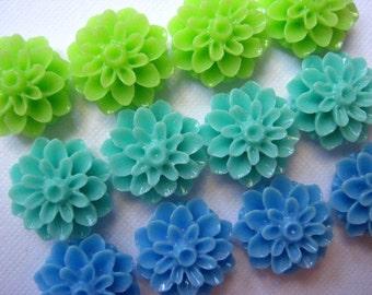 Flower Cabochons .... 12 pc Resin Mum Dahlia Cabochon in Lime Green, Aqua, Blue