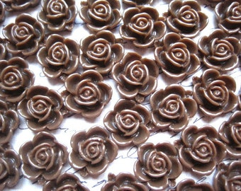 Resin Flower Cabochons / 12 pcs Chocolate Brown Resin Flower 15mm