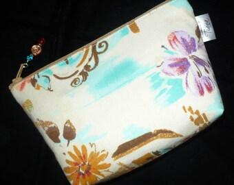 Cosmetic Bag - Makeup Bag - Tuscan Print - Floral cosmetic bag