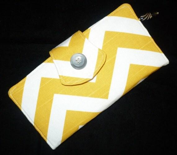 Yellow/Gray/White Chevron Womens Wallet Organizer, 2 Zippered, handmade