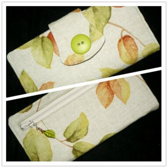 FALL WOMENS WALLET organizer, 2 zippered pockets, handmade, linen w/leaves