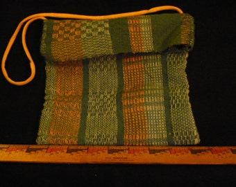 Handwoven blue and rose purse