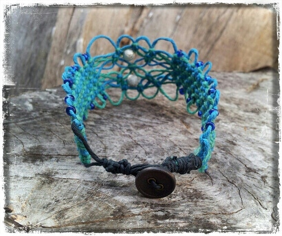 Blue and Teal Woven Hemp Anklet with silver beads and a button at the end