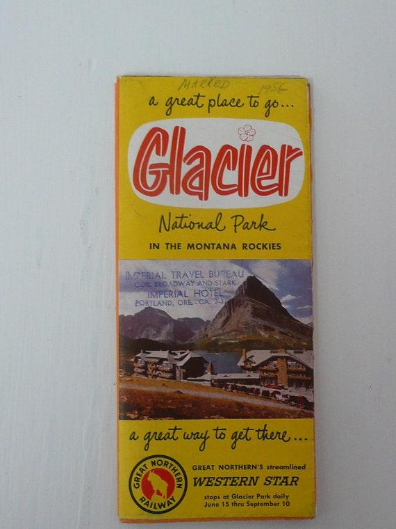 1956 Glacier National Park Brochure and Map, Glacier Waterton International Peace Park, Great Northern Railway, Imperial Travel Bureau