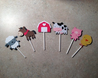 Barn Yard Cupcake Toppers