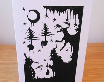 Christmas Linocut Greetings Card - Silhouette Snowman, Santa and Rudolph