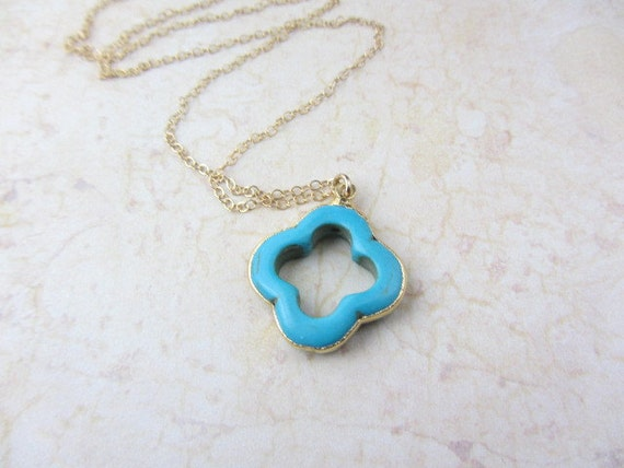 Turquoise Four Leaf Clover Necklace, 14k Gold Filled Chain