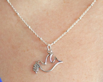 OVER THE RAINBOW - sterling silver dove/bird and olive branch necklace