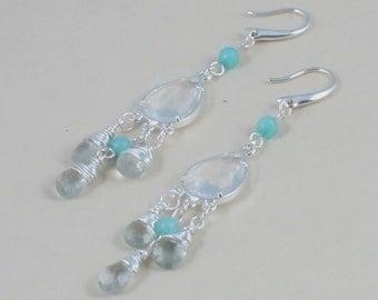 Chandalier rhinestone earrings with amazonite and green quartz
