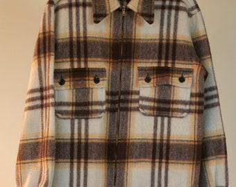 vintage mens wool plaid shirt jacket brown gold ivory