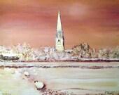 Greeting card - A Winter Morning at Patrington - from Original Acrylic painting