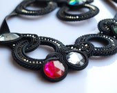 Soutache necklace black crystals