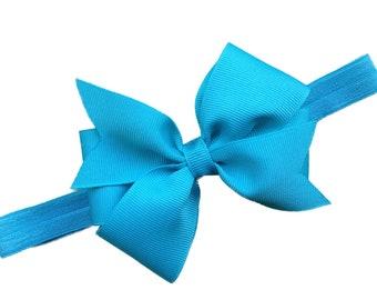 Turquoise bow headband- turquoise baby headband, newborn headband, baby bow headband, baby girl headband