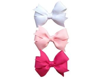 Set of three hair bows - 3 inch hair bows, pinwheel bows, girls hair bows, girls bows, custom bows, toddler bows, baby bows,