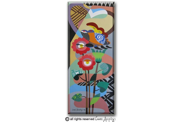 """Original Acrylic Butterfly Painting on Canvas - Pop Art Cubism Butterfly Art on Canvas -  16"""" X  39"""""""