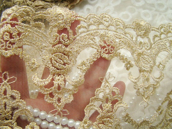 Vintage Lace Trim Gold Mesh Rococo Lace Gold Thread Double Brim