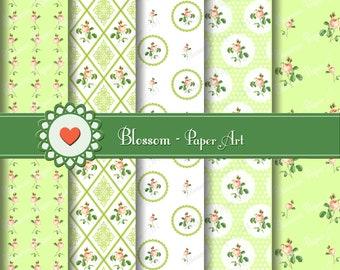 Digital Paper, Roses Green Digital Paper Pack, Scrapbooking Paper, Green, VIntage Flowers - Shabby Chic - Wedding Digital Paper - 1005