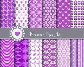 Digital Paper Violet Digital Paper Pack, Digital Scrapbooking Paper Pack, Violet Purple, Butterflies, Flowers - 1396
