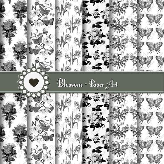 Papeles Decorativos Flores Blanco y Negro por blossompaperart