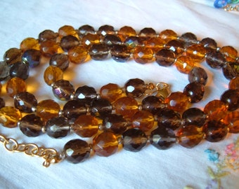 "Vintage Joan Rivers Earth Tones Faceted Glass Bead Necklace 36"" Brown Amber Gray"
