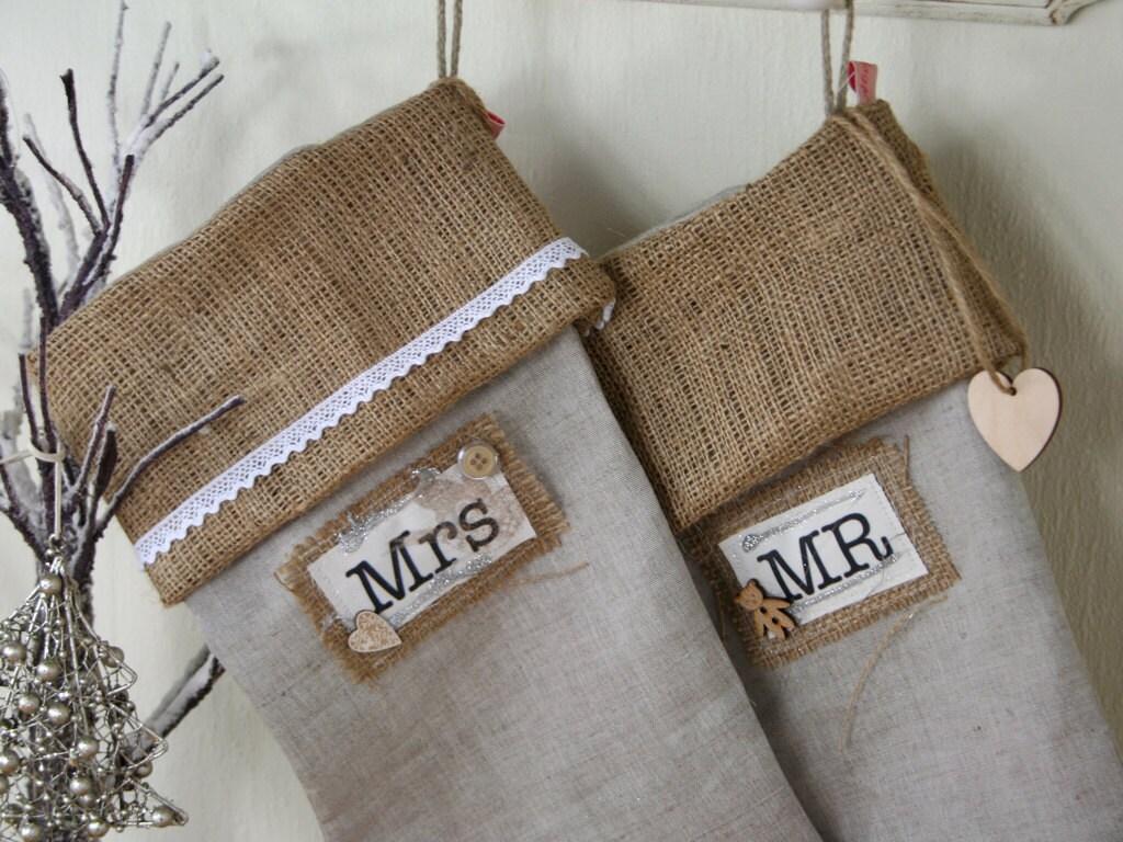Mr mrs linen christmas stockings handmade by elliemagpie for Custom made christmas stockings
