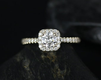 Rosados Box Mikena 1/2ct 14kt Yellow Gold Cushion Halo Diamond Engagement Ring