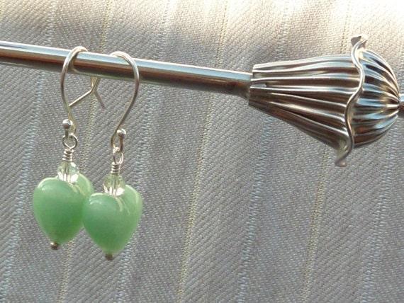 SALE - Murano Heart Earrings - Swarovski Murano Jewelry - Mint Green Jewelry - Sterling Silver - Grace of Eden