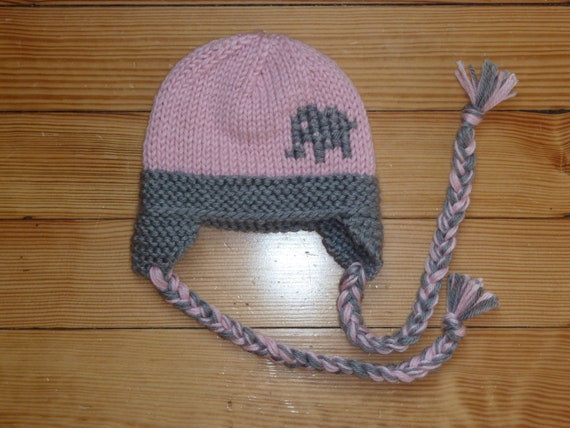 Knit Crohet Elephant hat for boy or girl with by Knits4Noggins