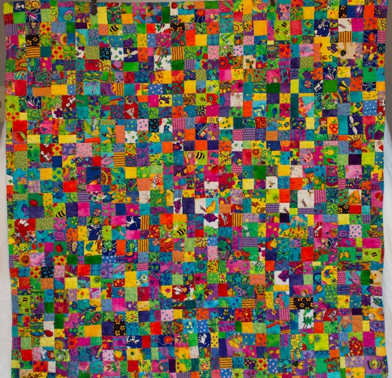 No. 14, Fractured Four-Patch (Copyrighted), Bright Girl Quilt, 1,024 Pieces