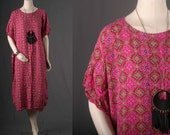 Caftan maxi dress women long Dashiki coral red hippie ethnic boho bohemian tribal size M or L medium or large