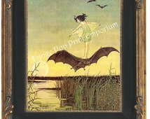 Bat Rider Art Print 8 x 10 Little Girl Riding Bat   - Childrens Book Illustration