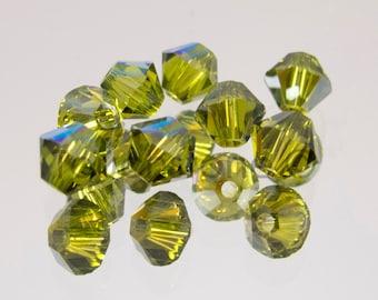 4mm Olivine AB Swarovski Crystal Bicone Beads 72 Beads #45-1162