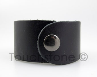 "7 1/2"" Black Leather Cuff Bracelet #-"
