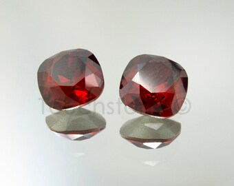 2 Swarovski Square Rhinestone Red Magma Crystals 10mm 4470