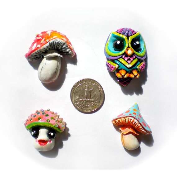 RESERVED FOR SHARAYAH, Set of 4 Cabochons, 3 Mushrooms, 1 Owl