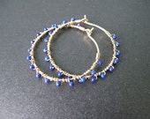 Hoops with tiny lapiz lazuli beads Cleopatra 29