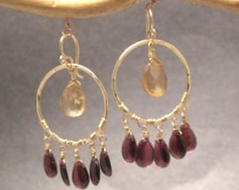 Siren 136 Hammered hoops with whiskey quartz and garnet