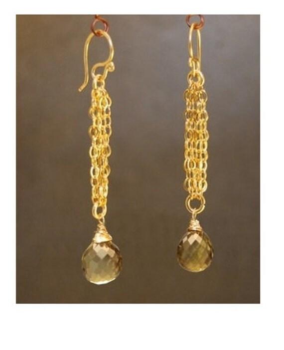 Chain earrings with Whiskey quartz Venus 121