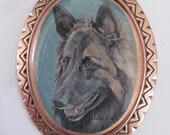 Belgian Tervuren wearable art copper pin