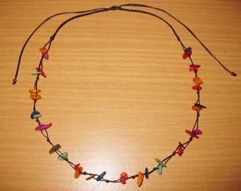 Handmade Necklace Multi-Color Shells in Thailand FAIR Trade Wax Cotton String Adjustable size (N062-MUS)